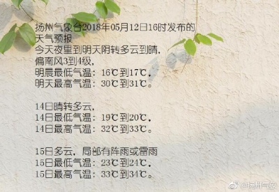 """今天30℃,明后可能更高!扬州""""冲击入夏"""",你准备好了吗"""