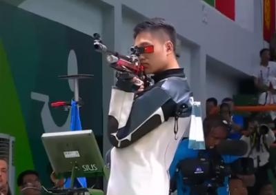 男子10米气步枪:中国选手杨皓然破亚运会纪录夺冠!