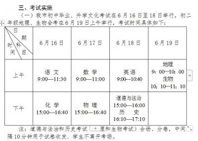 划重点!扬州2019年中考会考即将开考,考生需注意……