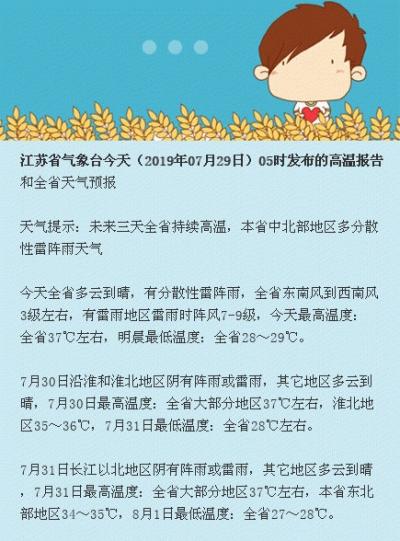 """37℃只是""""起步价""""!未来一周江苏最高气温逼近40℃"""