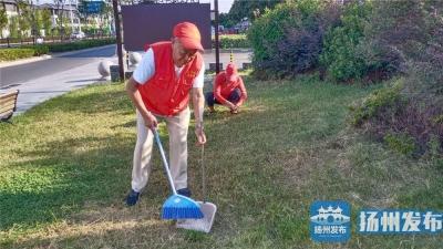 """【文明瞬间】扬州86岁红马甲义工乐当口袋公园""""卫士"""""""