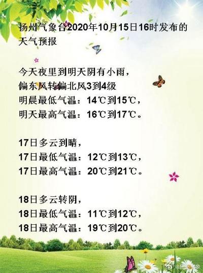 """扬州阴雨渐止,未来几天清晨""""敢冻人"""",秋裤正在召唤你!"""