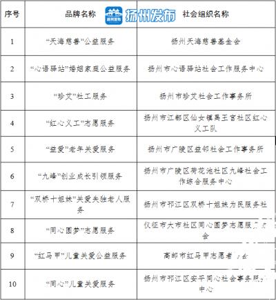 """扬州社会组织公益服务""""双十佳""""出炉"""