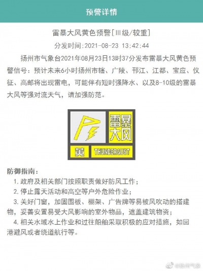 刚刚,扬州市气象台发布雷暴大风黄色预警信号