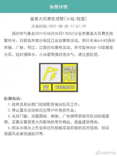 最新丨刚刚,扬州市气象台解除雷暴大风黄色预警信号