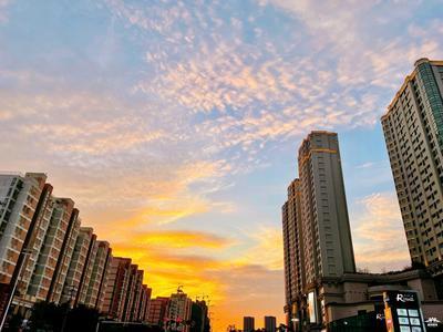 漫天红霞,今天扬州的落日好美!